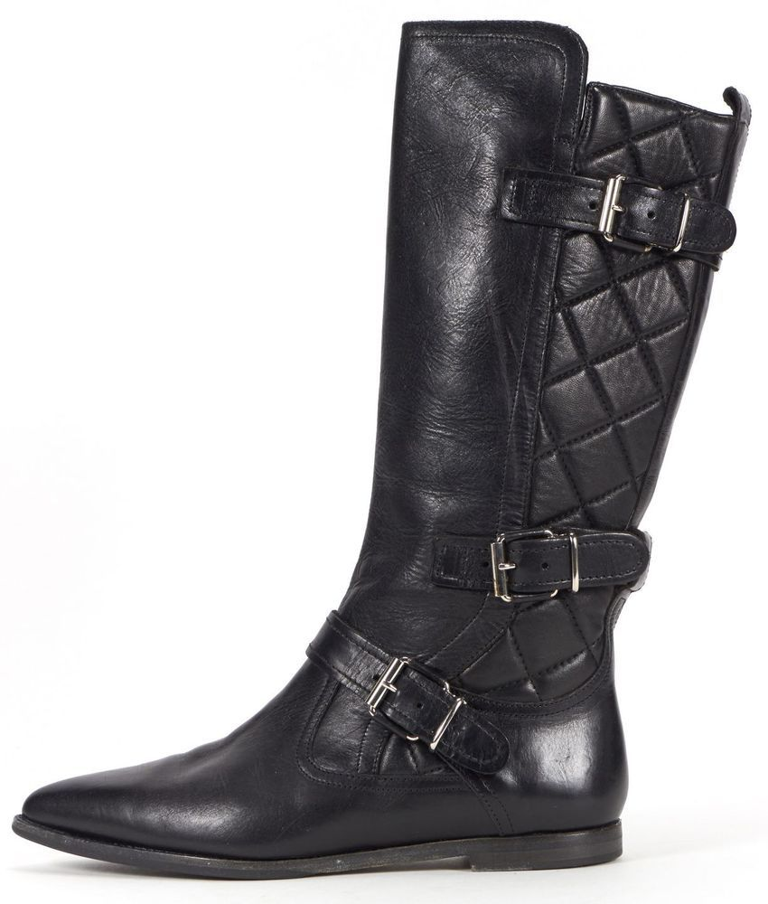 Burberry Black Quilted Leather Buckle Detail Knee High Boots Size 40 Burberry Kneehighboots Boots Burberry Boots Leather Buckle