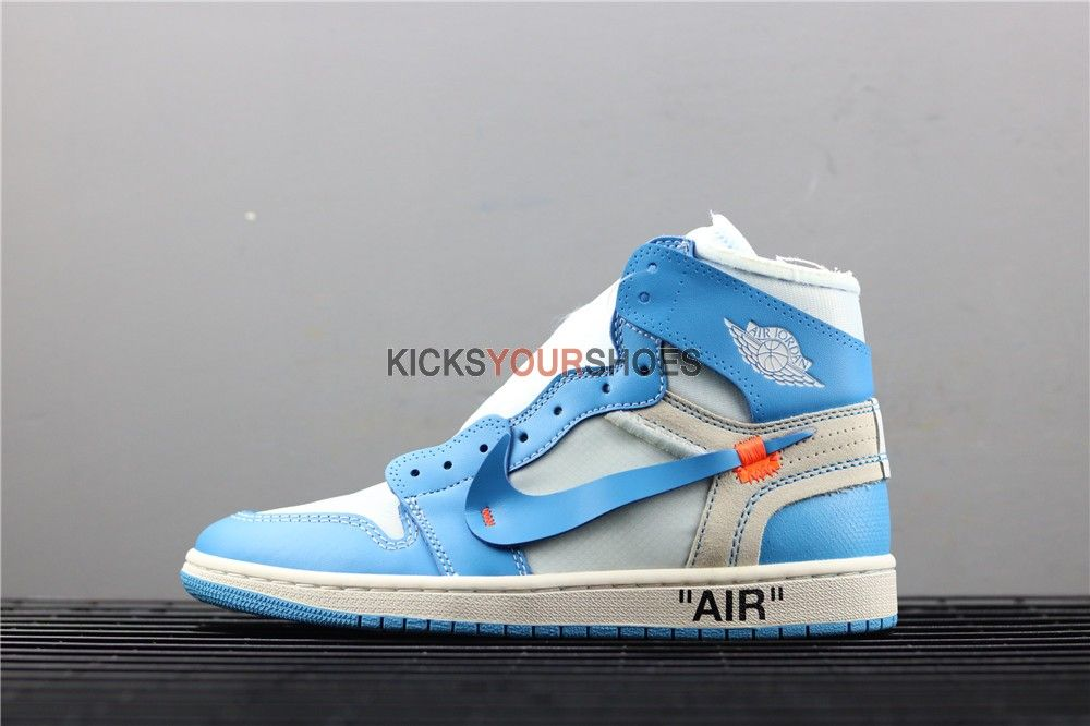 Off White X Nike Jordan 1 Powder Retro High Og Unc Blue Aq0818