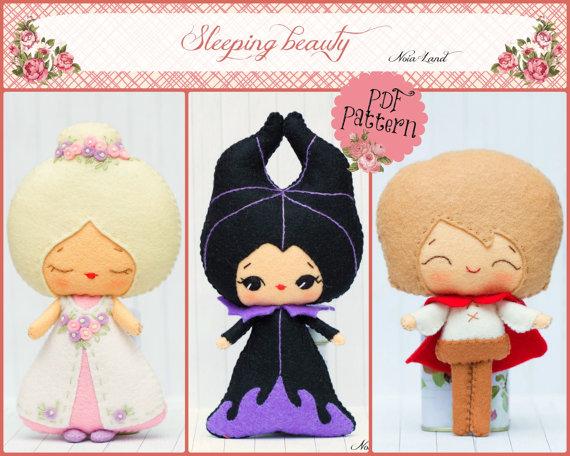 PDF. The Sleepy beauty: Princess Aurora, Prince Phillip and Maleficent. Fairy tale pattern.