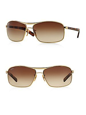 Ray-Ban 64MM Square Sunglasses - Gold - Tortoise - Size No Size