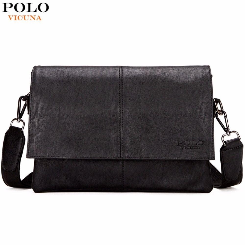 ea66daeeccae VICUNA POLO Casual Fashion Black Leather Man Bag Famous Brand Envelope Bag  Men Messenger Bag Leisure