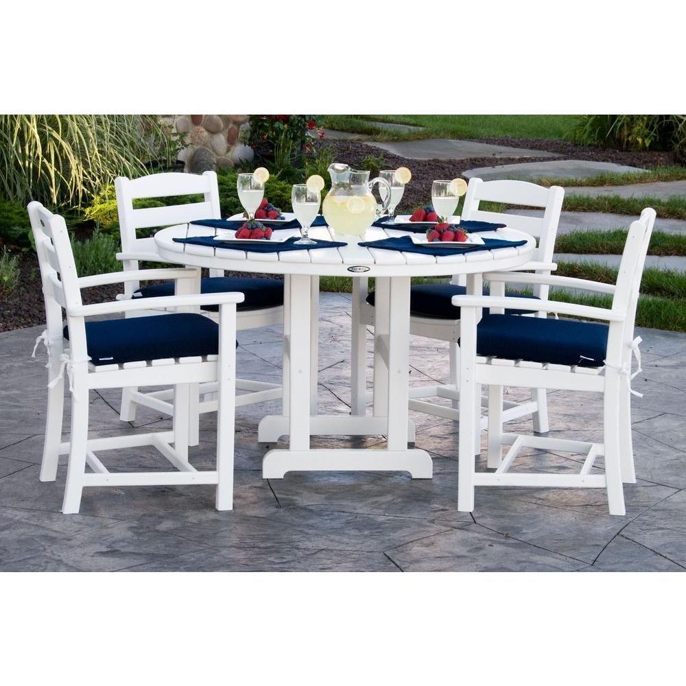 Polywood la casa cafa white piece plastic outdoor patio dining set