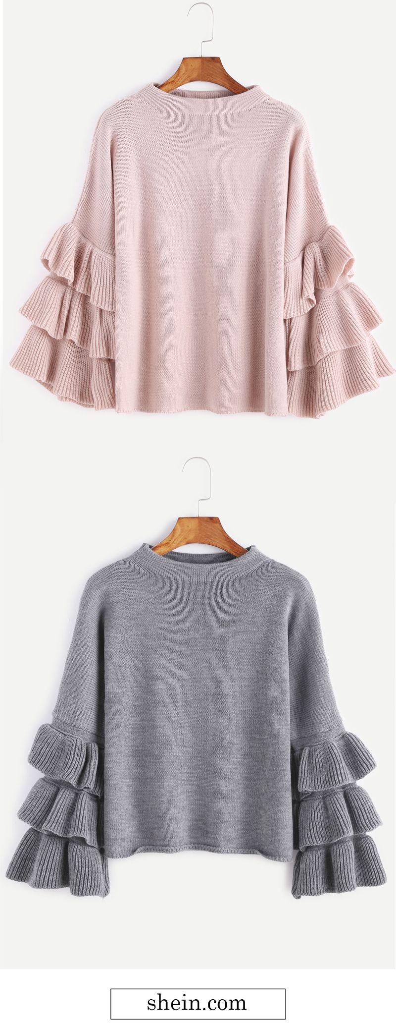 Cute layered ruffle sleeve sweater collect. | Spotlights ...