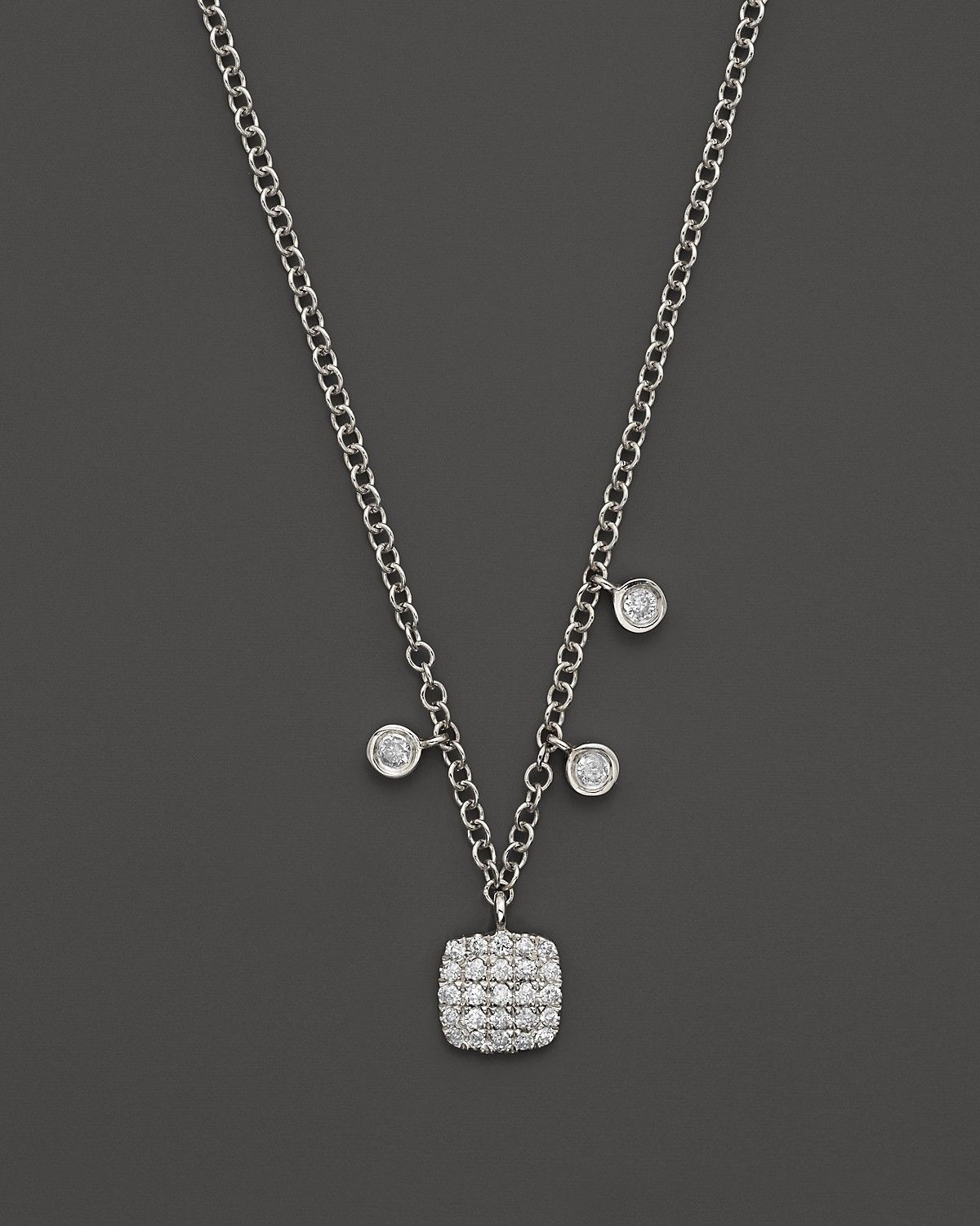 ee61f70dd6fed 14K White Gold Square Pavé Diamond Disc Necklace, 16 in 2019 ...