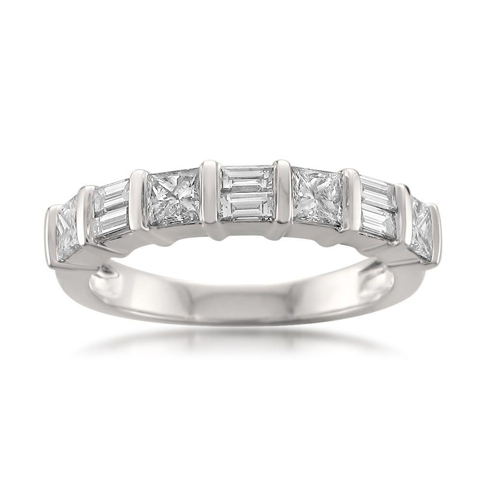 1ct Baguette Cut Diamond Half Eternity Wedding Ring Band 14k White Gold Gift