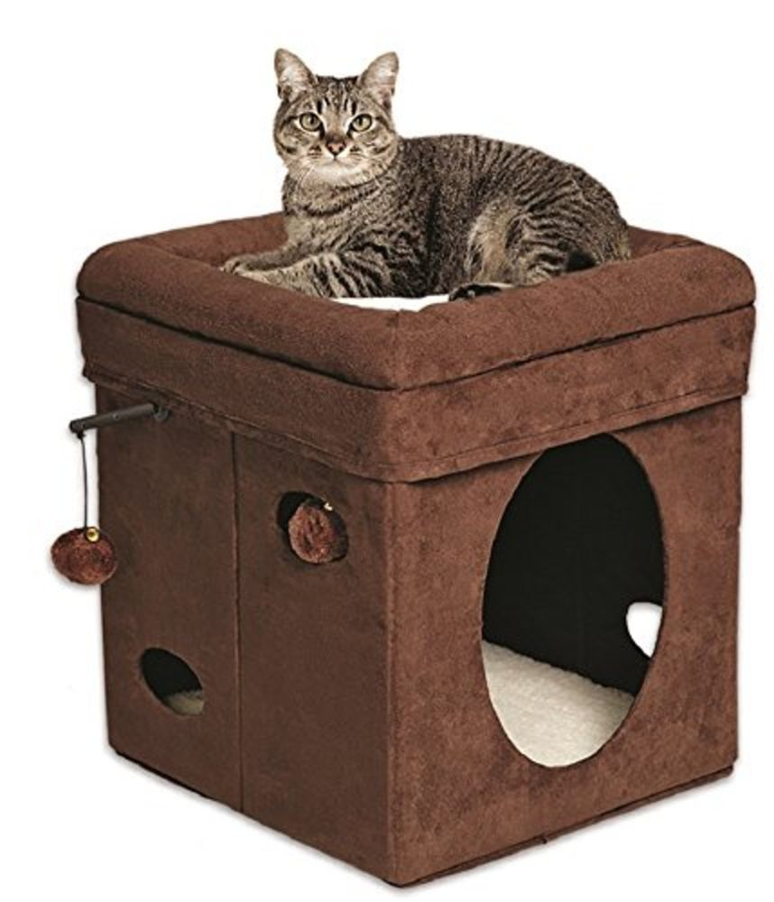 Cute cat cube!  Midwest Homes for Pets Curious Cat Cube, Brown Suede #MidwestHomesforPets