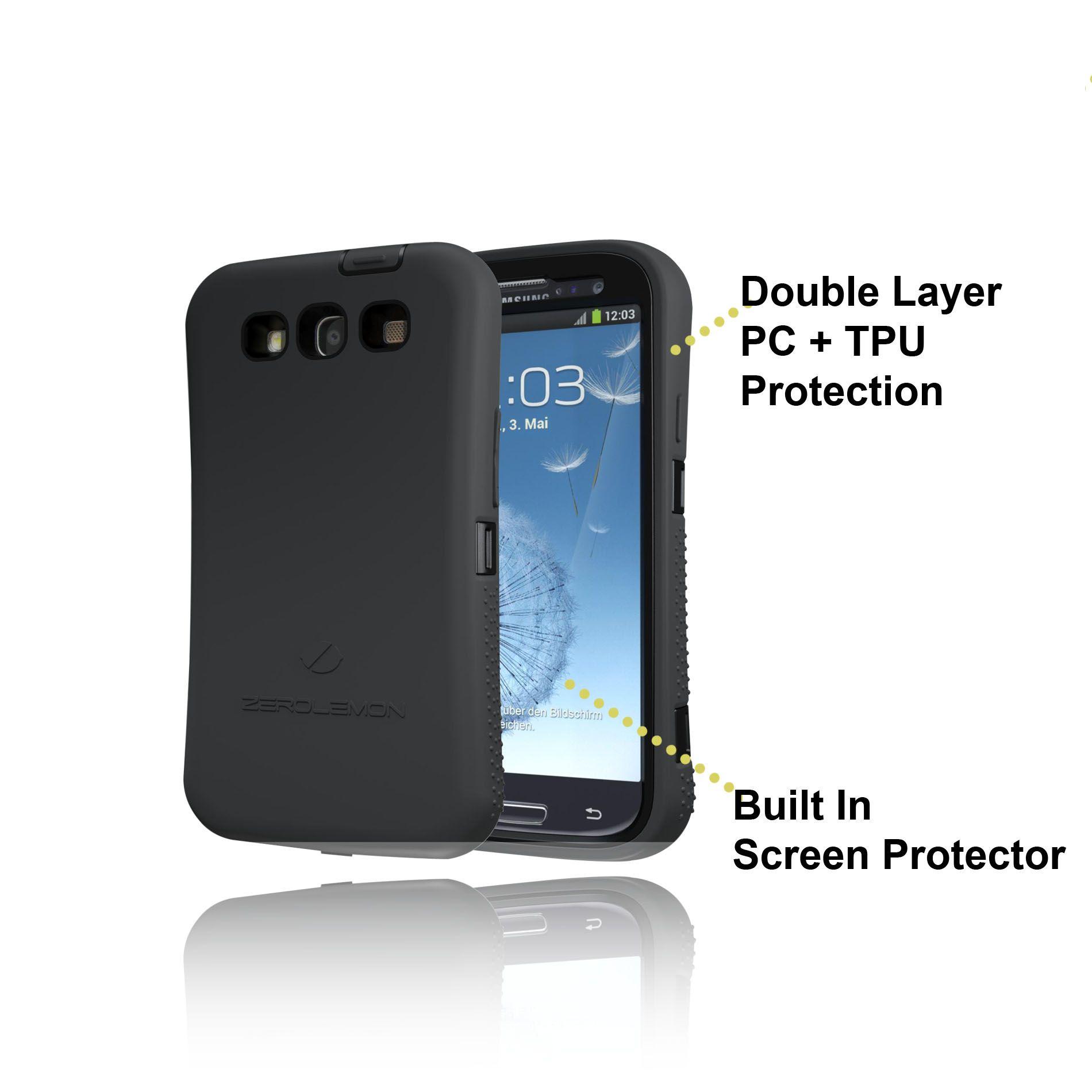 finest selection 10aca 712cf ZeroLemon Samsung Galaxy S III Black Extended TPU Full Edge ...