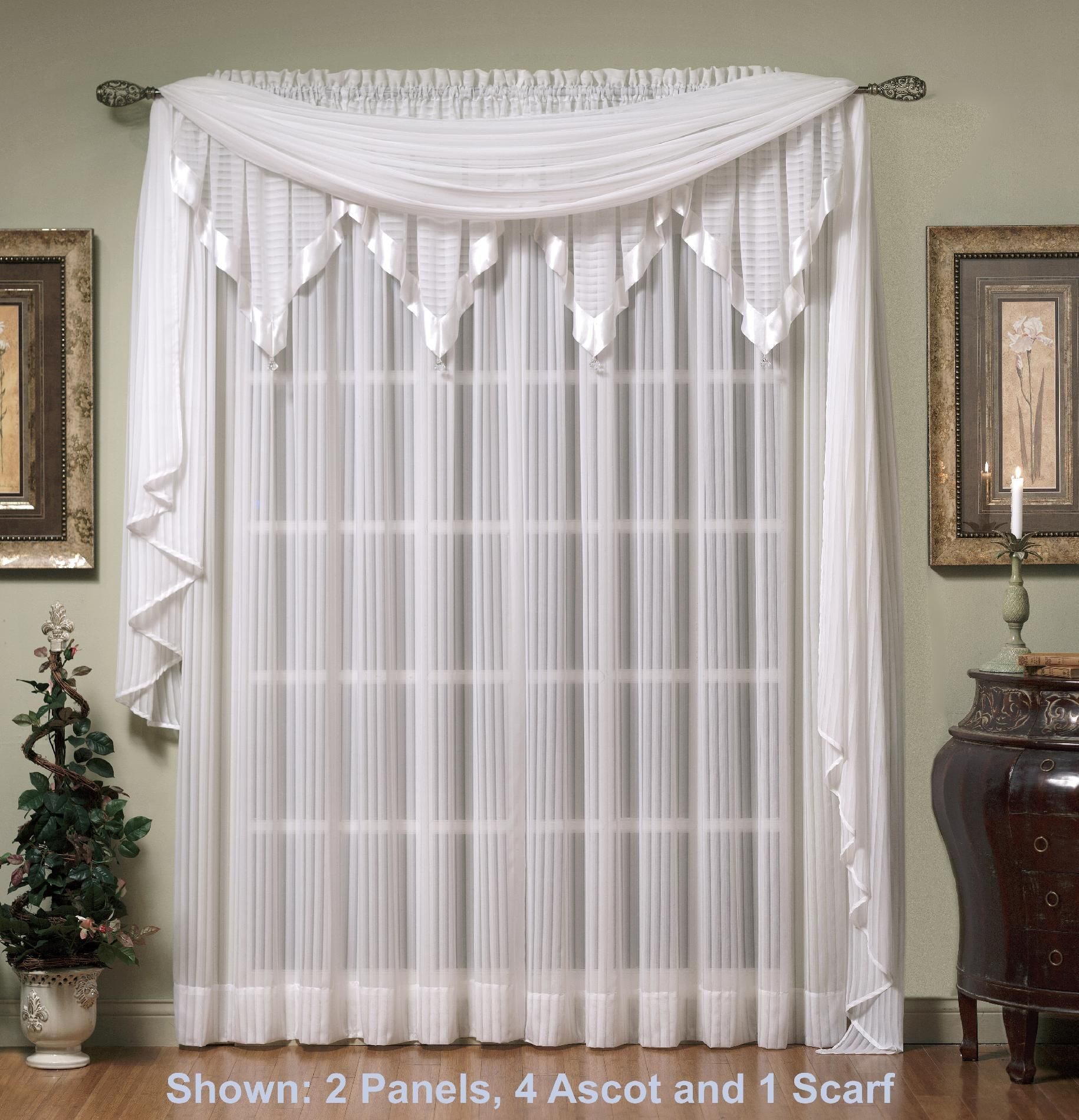 Today\'s Curtain Silhouette Ascot Valance, White | Cortinas