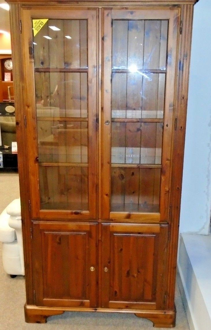 Contemporary Ducal Farmhouse Style Solid Pine Dark Wood Display Cabinet W57 Cabinets And