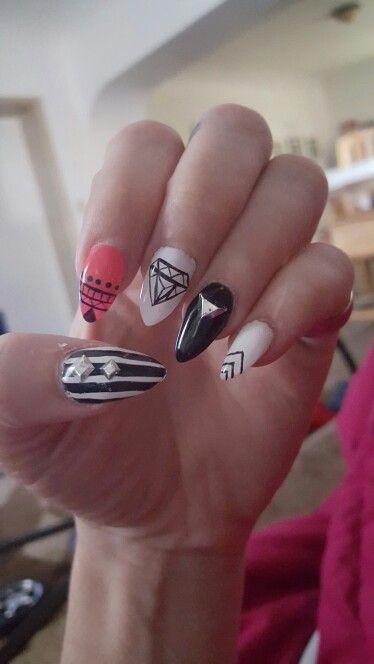 Stilletoes and metals. Nail designs.