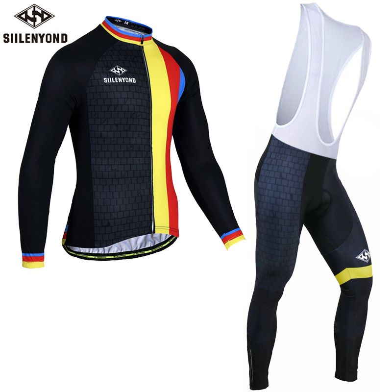 Siilenyond Pro Winter Thermal Fleece Cycling Jersey Set Maillot Ropa  Ciclismo Long Sleeve Bike Wear Keep 9c6bd23c6