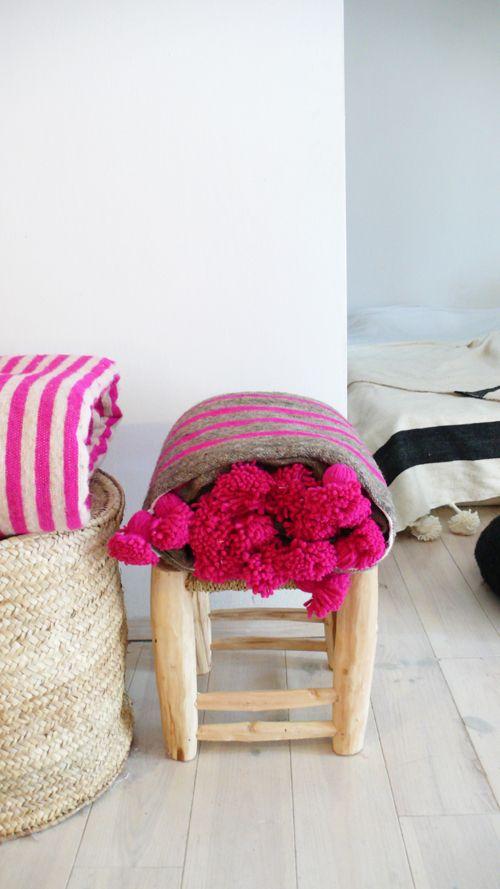 Moroccan POM POM Wool Blanket -  Pink and Grey Stripes MUIMA*