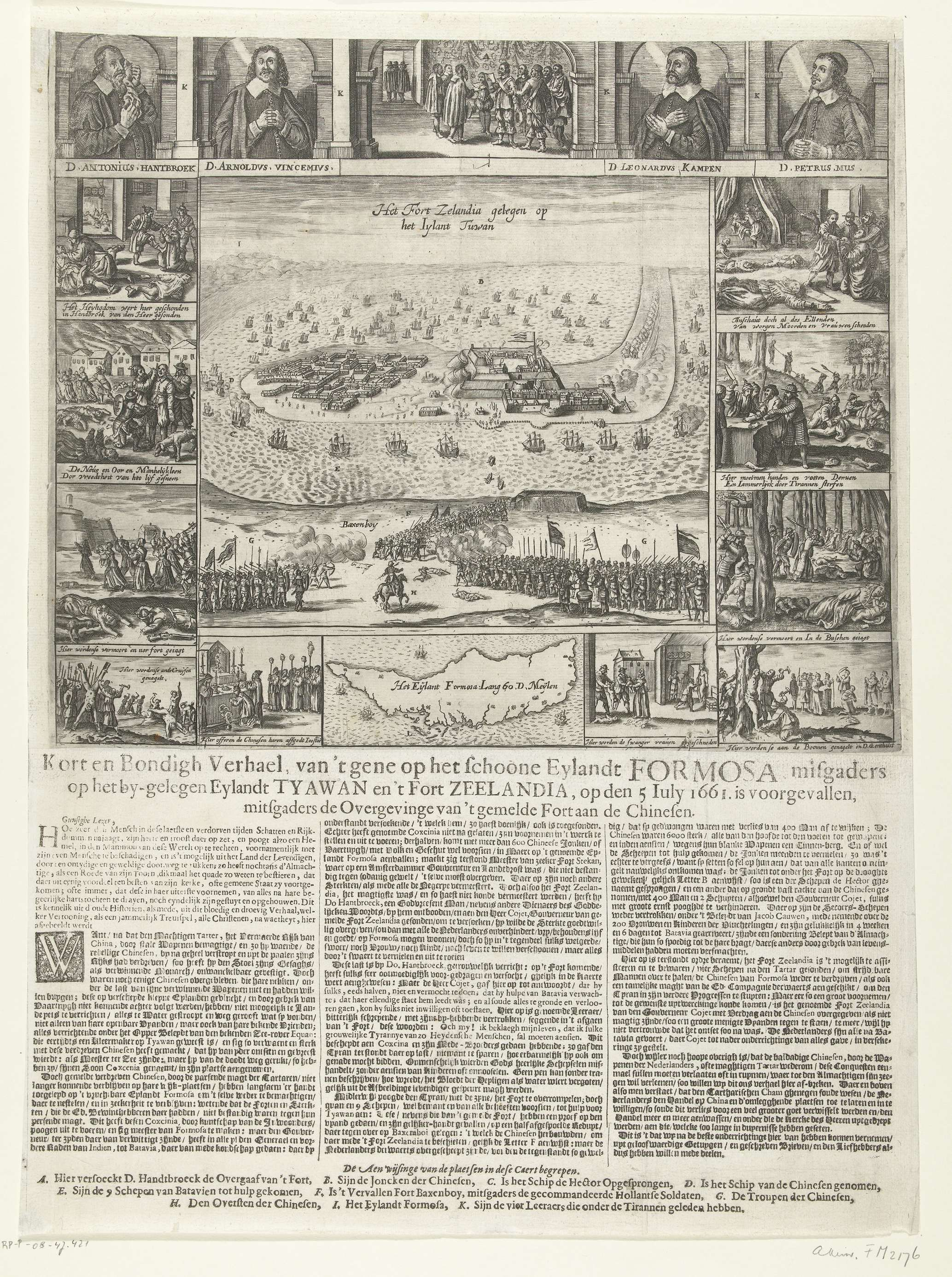 Verovering van Fort Zeelandia op Formosa door de Chinezen en de marteling en moord op de gereformeerde predikanten, 1661, Crispijn van de Passe (II) (toegeschreven aan), 1662 - 1663