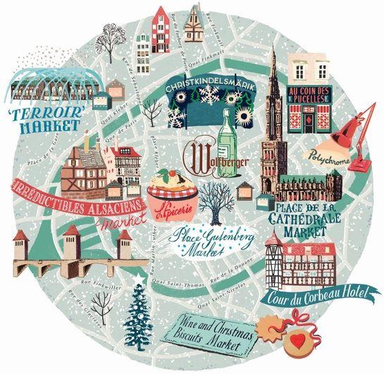 Anna Simmons Travel Map Of Strasbourg Carte Illustree De Strasbourg France Illustrated Map Travel Maps Travel Illustration