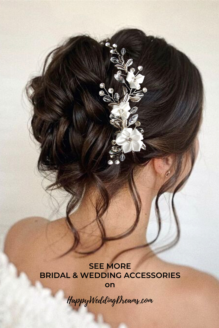 Bridal Hair Clip Crystal Wedding Hair Clip Floral Bridal Hair Piece Rhinestone Wedding Headpiece Coiffure Mariee Coiffure Etsy