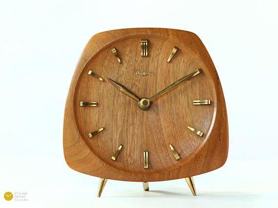 Mid Century Dugena Kienzle Teak Desk Clock Modern Danish Danish Decor Desk Clock Modern Clock Decor