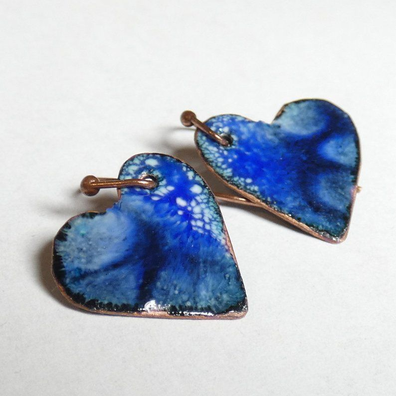 Enameled Copper Earrings Cobalt Blue Separation And Crackle Etsy Artsy Jewelry Jewelry Inspiration Ooak Jewelry