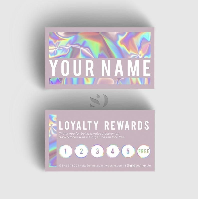 Pretty Purr Loyalty Card Holographic Business Card Design Printing Optional Free Usa Shipping In 2020 Card Design Business Card Design Etsy Business Cards