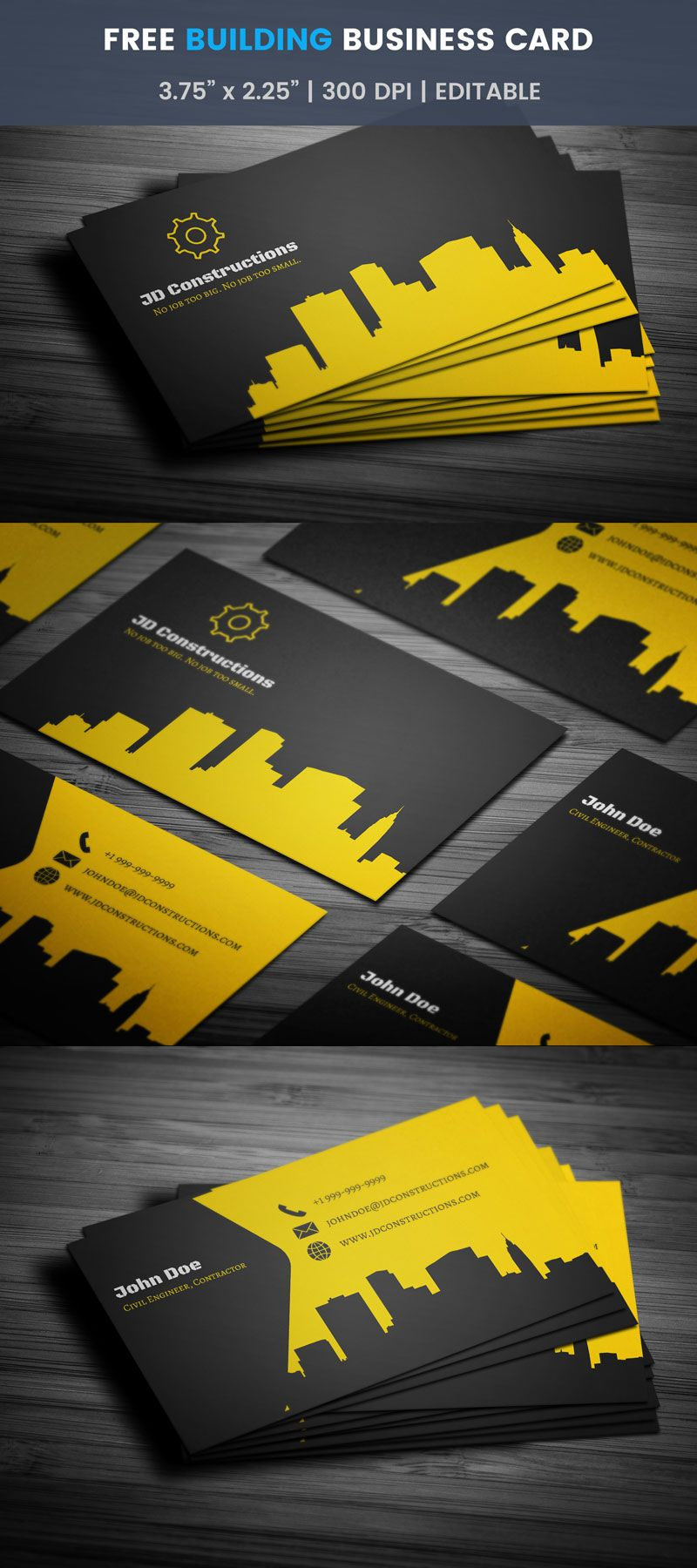Building Construction Business Card - Full Preview | Free ...