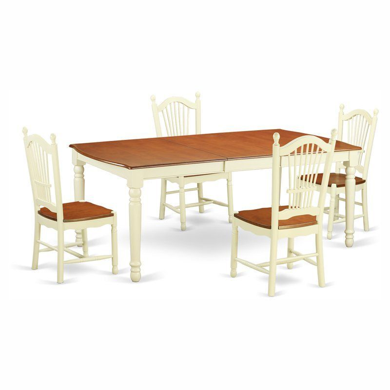 East West Furniture Dover 5 Piece Rectangular Dining Table Set - DOVE5-WHI-W