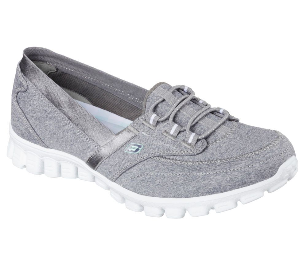 22832 Gray Skechers Shoes Memory Foam Women New Comfort Slip On