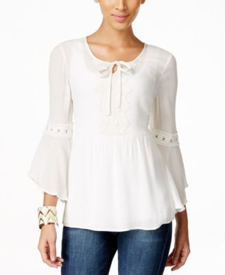 9f0a1562611b8 Style   Co. Crochet-Trim Peasant Blouse