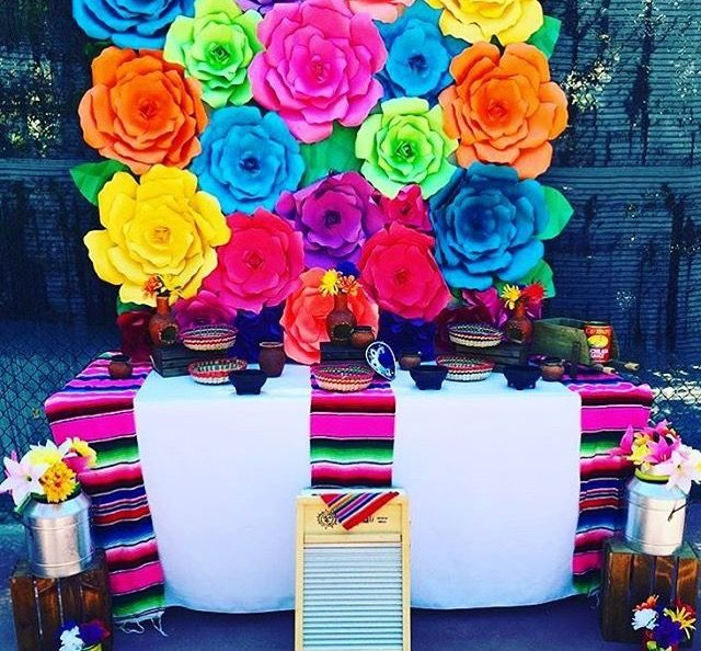 Colorful paper flowers white table cloths mexican bright pink colorful paper flowers white table cloths mexican bright pink sarapes mexican theme party mightylinksfo