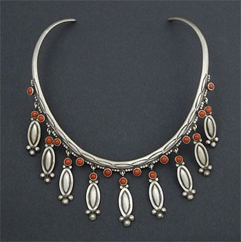 Silver and Coral Collar by Herman Smith (Navajo) | Native