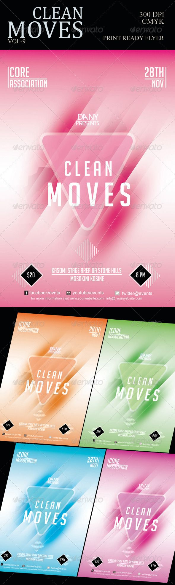 Clean Moves Flyer 9  #GraphicRiver         It is a clean flyer which can be used for any event, festival or for your loving occasion. You can edit it according to your requirement. Very clean and decent in nature just scattering painted beams and stripes from the centre of flyer, it will give elegant appearance.  DETAILS OF FLYER FILE  PSD file with layers 4.25×6.25  with .25 bleed 3000 dpi with CMYK colors Fonts are Devil Breeze and Bignoodle titling   	  .dafont /bignoodle-titling.font   	…