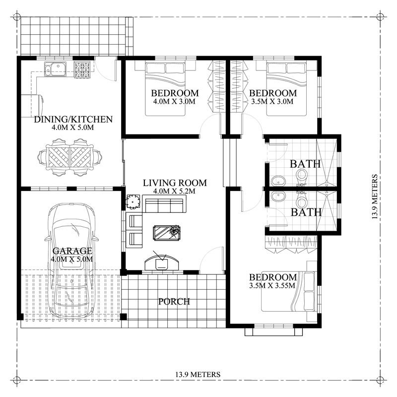 Bedroom Layout Ideas Small 3 Bedroom House Plan Home: Delightful 3-Bedroom Modern Bungalow House