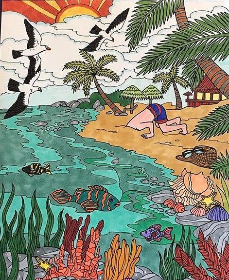 ColorIt Freebie Friday Colorist: Pam Shaffer Boik #adultcoloring #coloringforadults #adultcoloringpages #beach