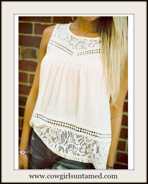9e8c88b9c373d SUPER CUTE LACE TOP!! Off White Slit Back Lace   Crochet Sleeveless Blouse  Tank Top  lace  sexy  openback  top  shirt  blouse  white  cowgirl  western   boho ...
