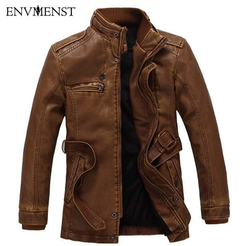 Men S Leather Thick Warm Lamb Fur Lined Jacket Coat Products