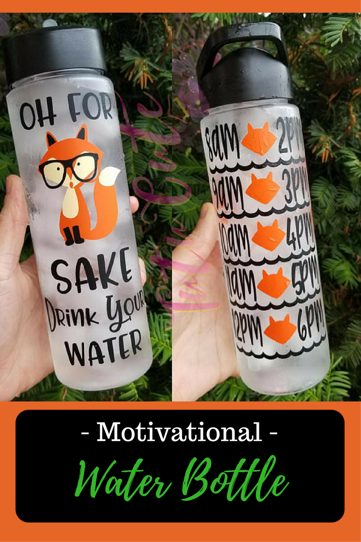 Oh For Fox Sake Drink Your Water Motivational Water Bottle Water Tracker Water Bottle Fitne Motivational Water Bottle Water Bottle Decal Water Bottle Workout