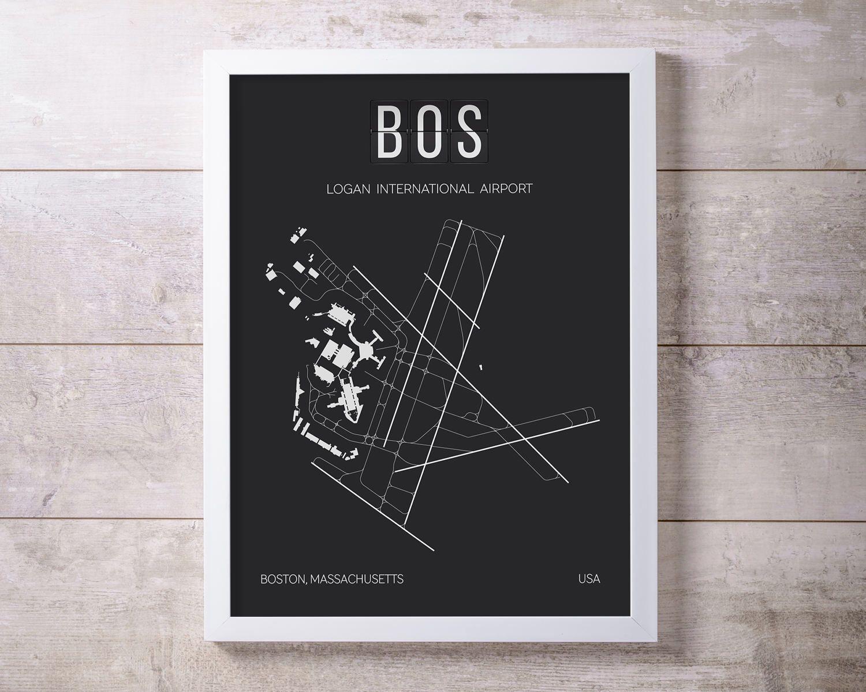 BOS Boston Logan International Airport Print Map Wall Art