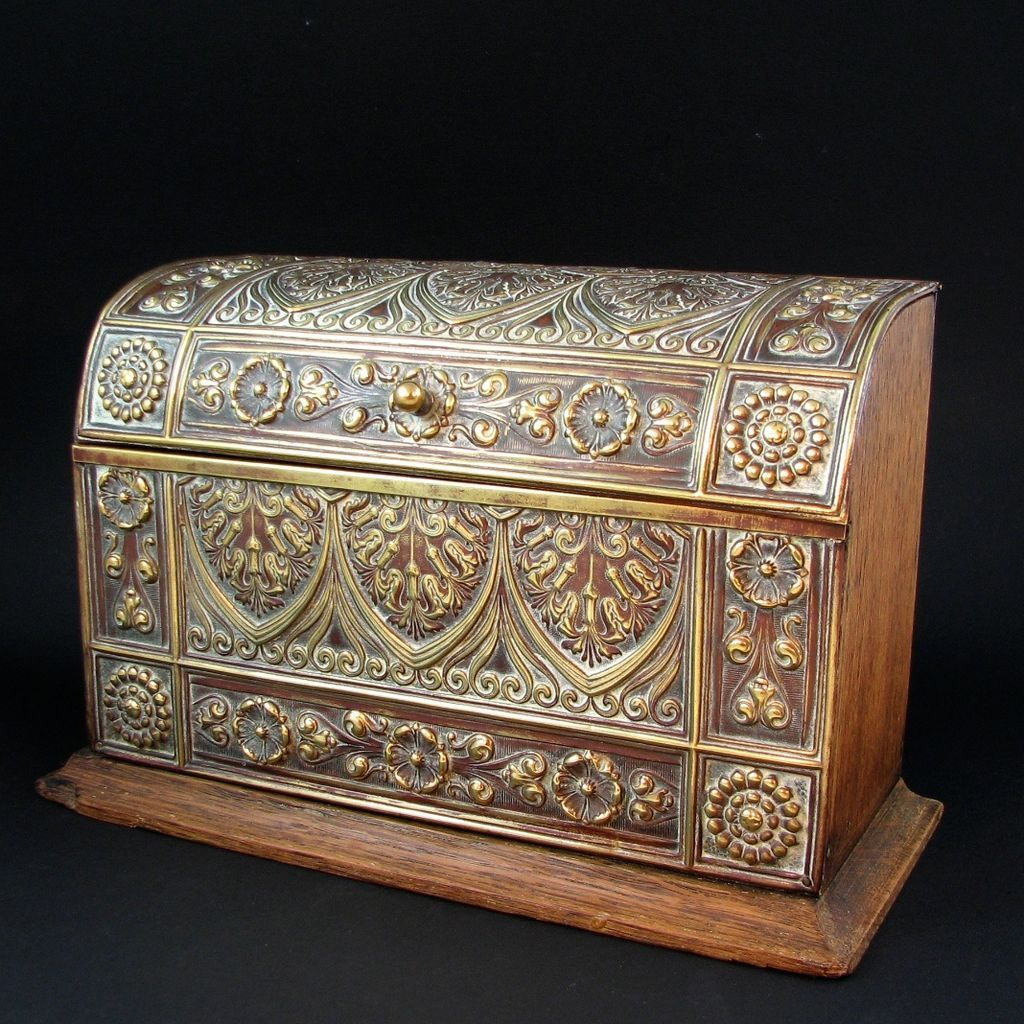 Decorative Stationery Boxes Antique English Brass & Oak Domed Stationery Box Circa 1900 From