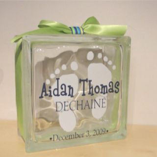 easy baby gift use a baby foot template and spray etched glass