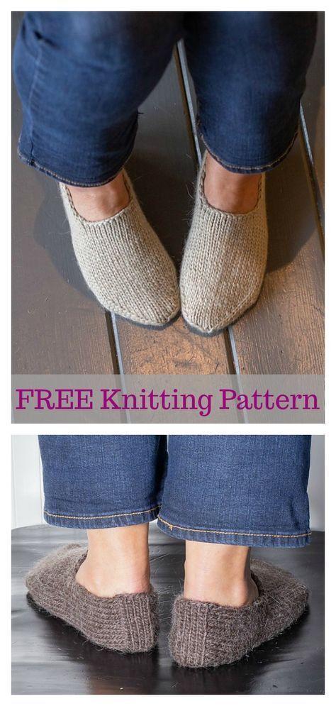 Chunky Slipper Socks FREE Knitting Pattern | Knit slippers ...
