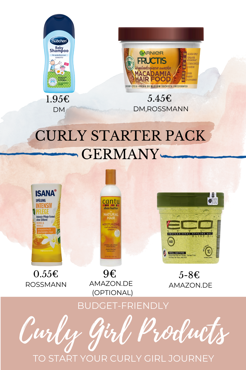 Confused What Curly Girl Products To Buy Here Is A Curly Starter Pack For Germany Curly Girl Low Porosity Hair Products Curly Girl Method