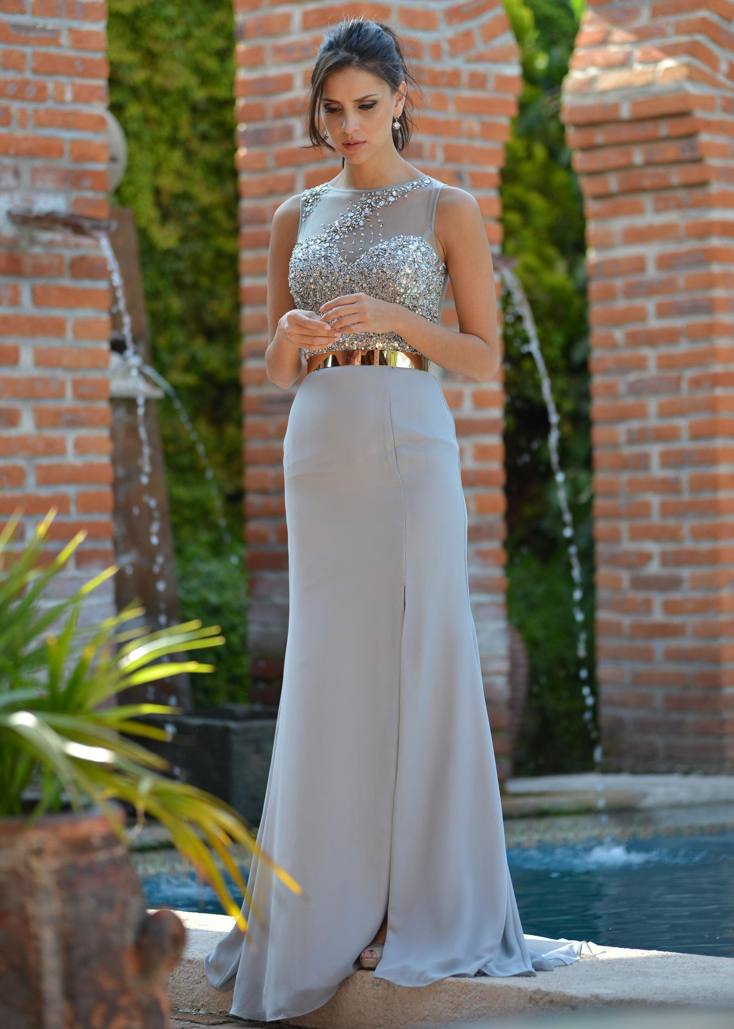And ice silver bridesmaid dress if it was navy blue and ice silver - Colors 1449 Silver Beaded Prom Dress Bridesmaid Evening Gown This Elegant Silver Chiffon Belted