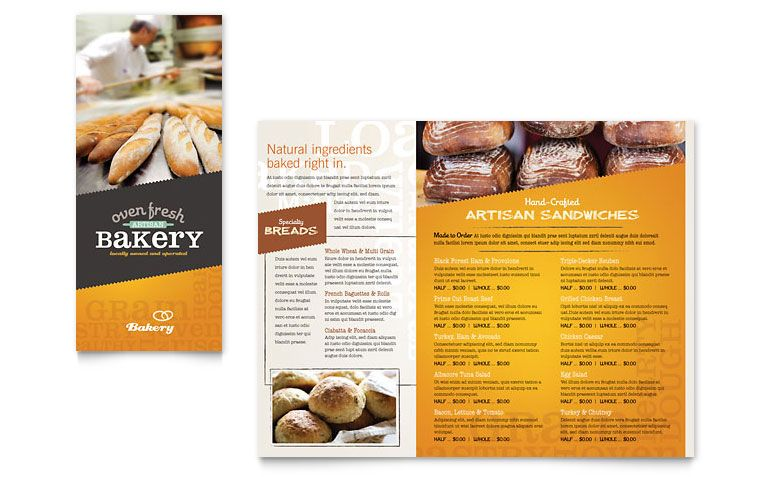 Artisan Bakery Take-Out Brochure Template Design | Ɱ€ȵŭ