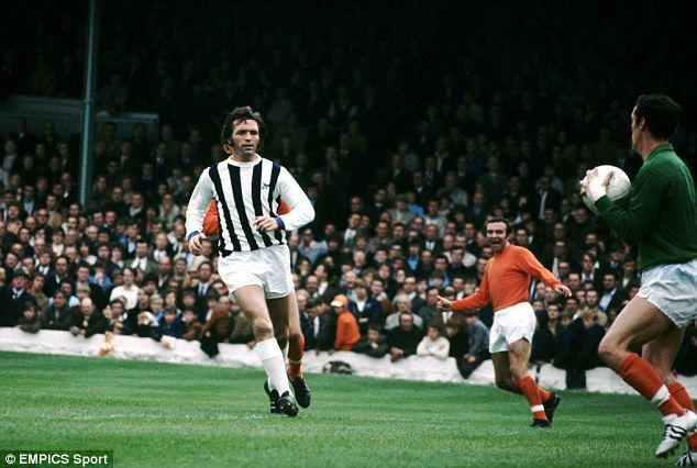 Astle - back in the Baggies traditional colours - in action during a 1970 match with Blackpool