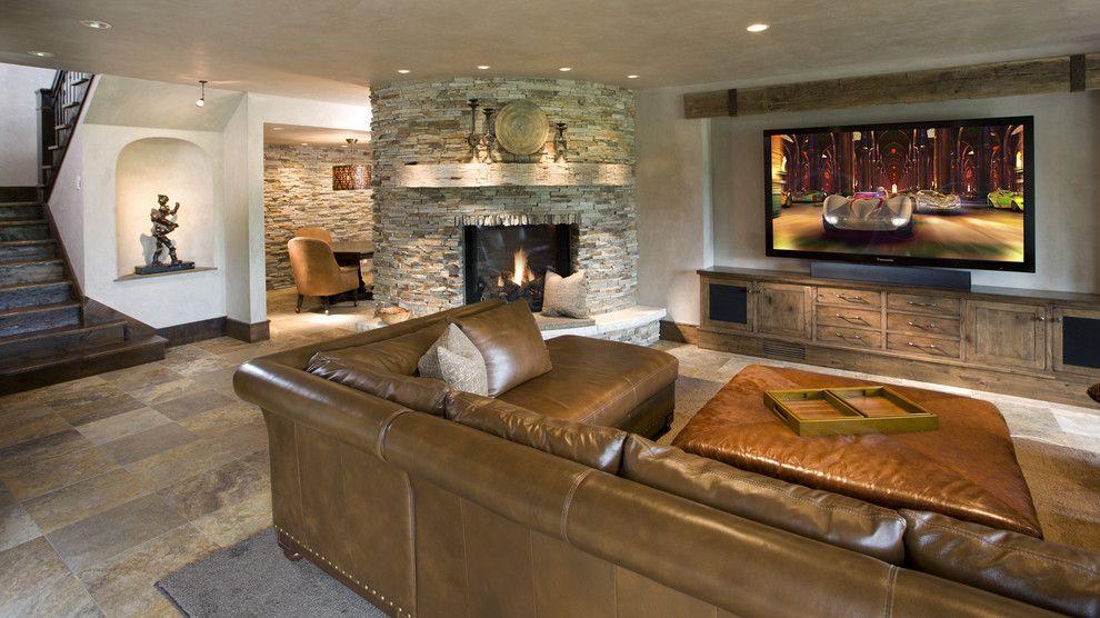 Splendid Tv Credenza Decorating Ideas For Basement Rustic Design Ideas With Splendid Art Niche Barnwood Rustic Basement Family Room Home