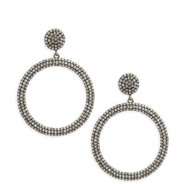 Bavna Champagne Diamond & Sterling Silver Champ Rose Round Earrings (14.290 DKK) ❤ liked on Polyvore featuring jewelry, earrings, round diamond earrings, sterling silver jewellery, diamond jewelry, rose diamond earrings and sterling silver rose earrings