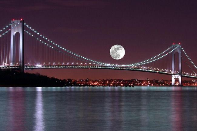 """Moon over the Verrazano Narrows Bridge""   By the Light of ..."