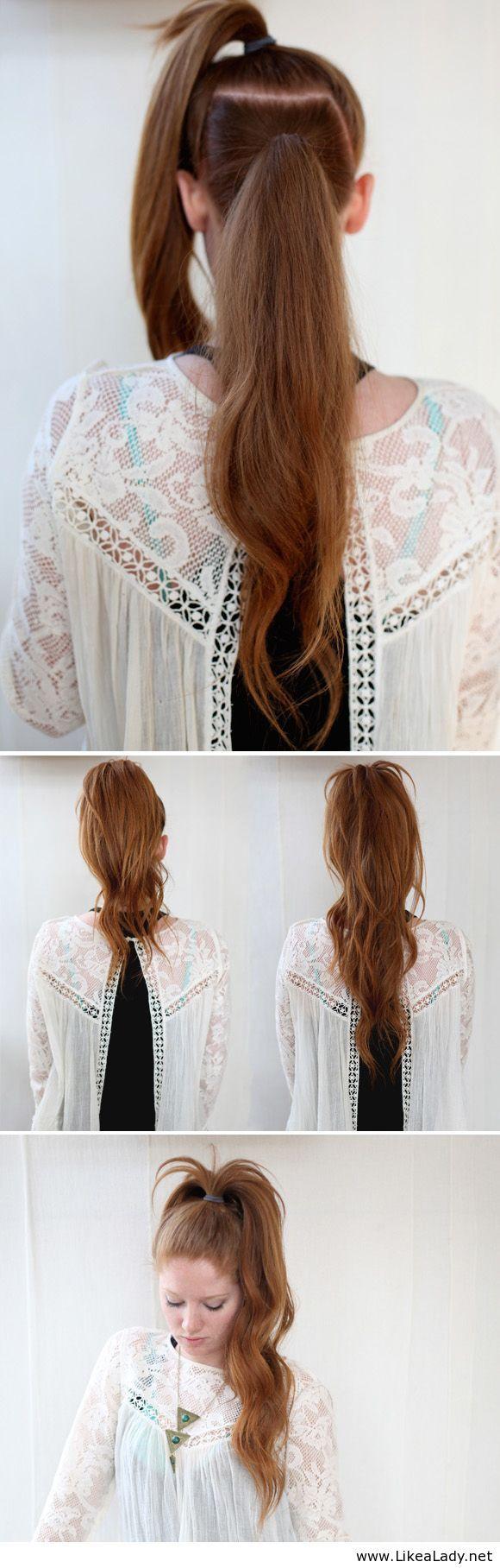 The illusional crazy long mane ponytail peinados pinterest
