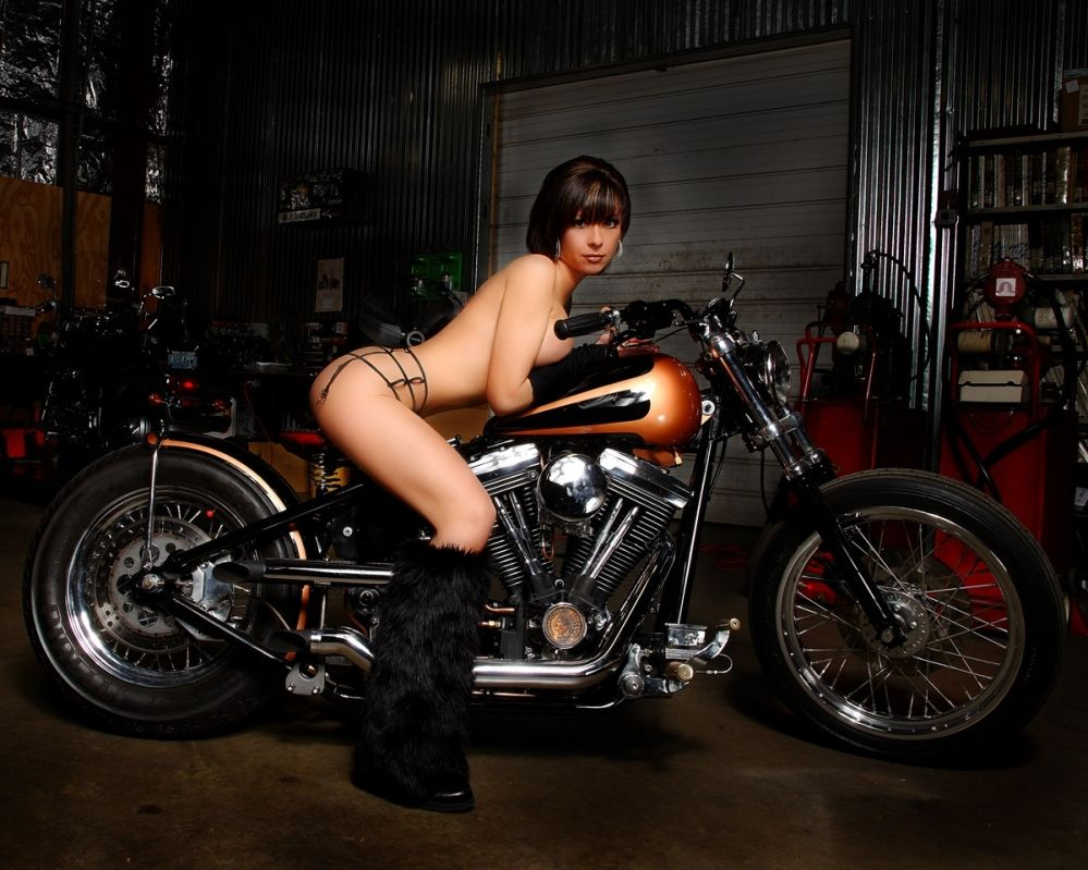 Custom chopper motorcycles and girls will