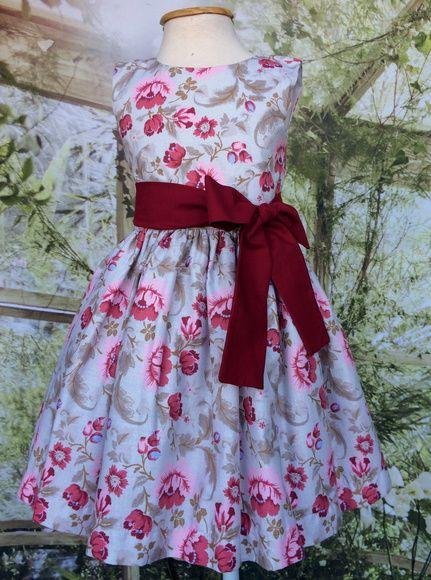 7e57a66d31f Vestido Infantil Festa Floral - Vinho | Girl summer dresses ...