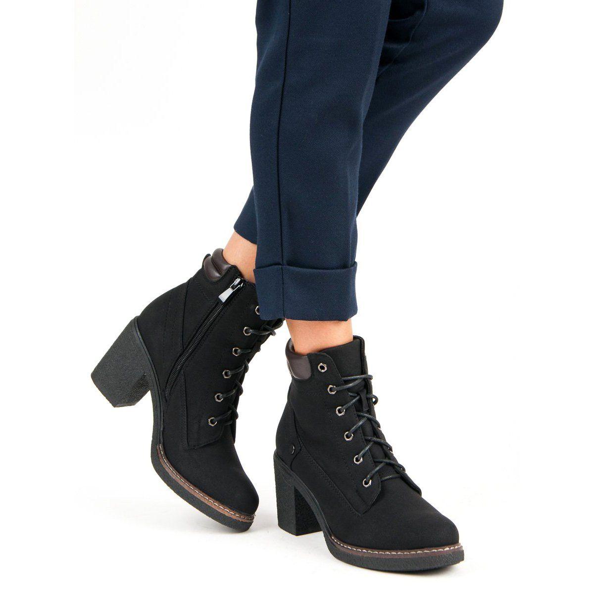 Sweet Shoes Jesienne Sznurowane Botki Czarne
