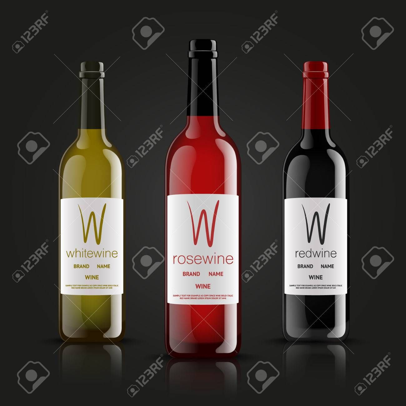 Vector Wine Bottles Made In A Realistic Style On A Dark Background Green Red And Black Mock Up Spon Realistic S In 2020 Wine Brands Wine Names Wine Bottle